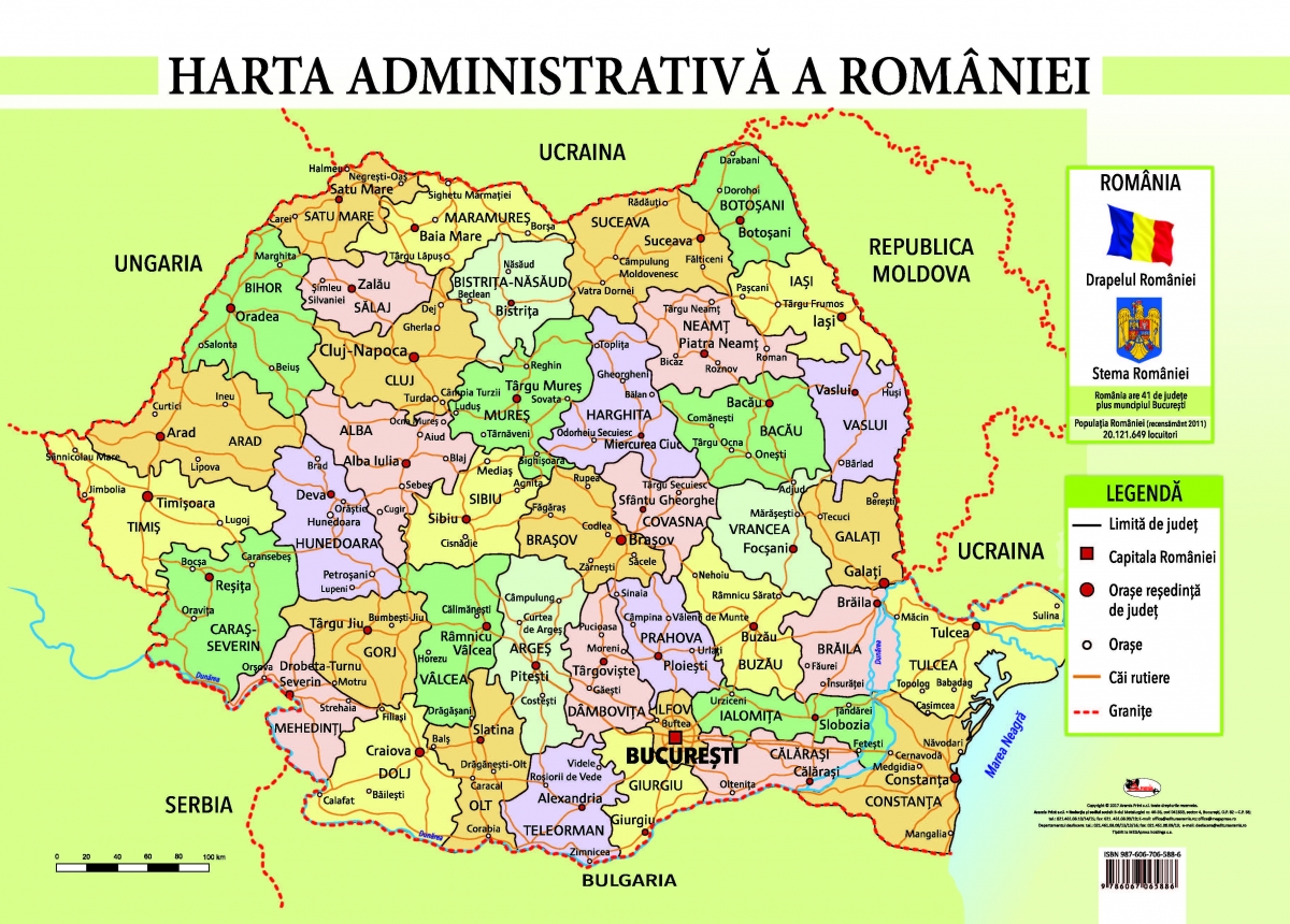 harta romaniei Harta administrativa a Romaniei, A4 harta romaniei
